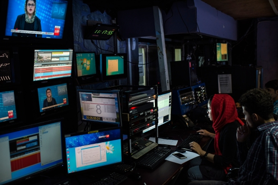 The production room for Tolo News, Afghanistan's most popular television network, in Kabul on May 13, 2017.