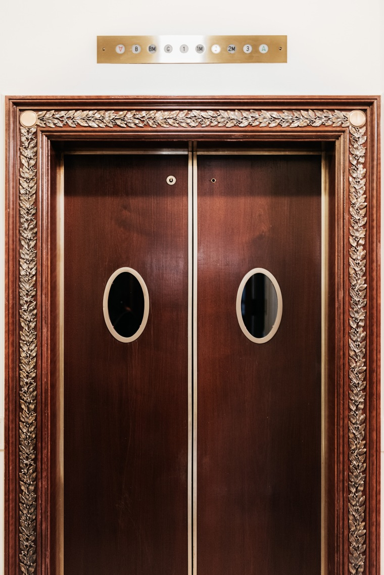 An elevator in the private residence. Benjamin Rasmussen for TIME