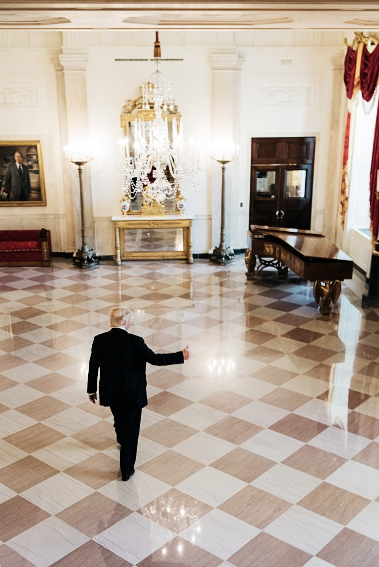 With First Lady Melania Trump in New York until the summer, the President often gives tours of the mansion to dinner guests. Benjamin Rasmussen for TIME