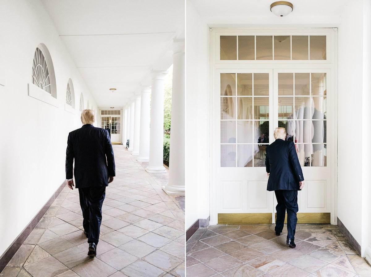 President Trump walking to the residence. Benjamin Rasmussen for TIME