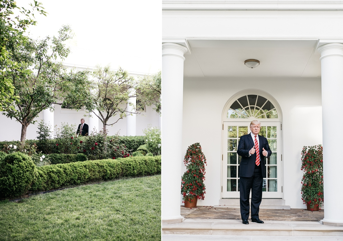 Left: President Trump walks along the Colonnade. Right: Trump gives a thumbs up. Benjamin Rasmussen for TIME