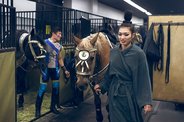 Equestrian performers backstage at the Ringling Bros. and Barnum and Bailey circus.