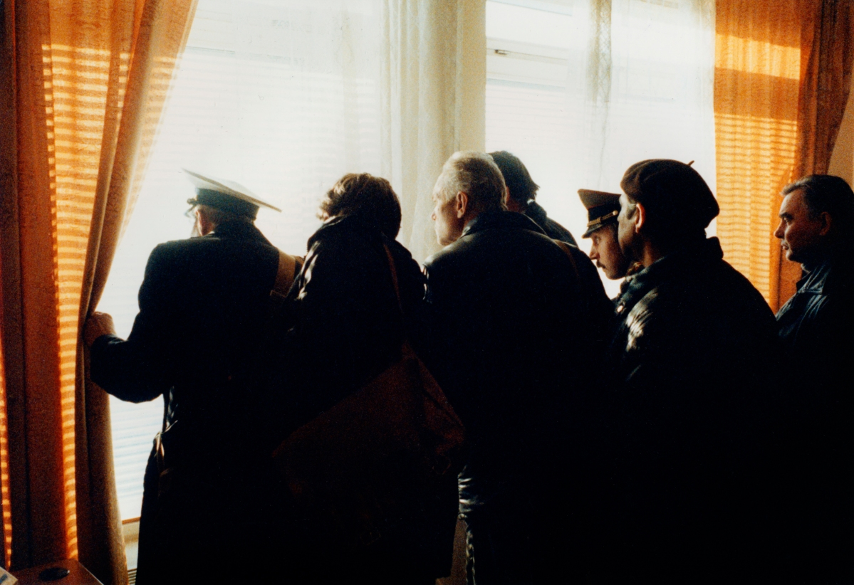 Russia, Moscow, people looking out of window, side view. Stanley Greene—NOOR
