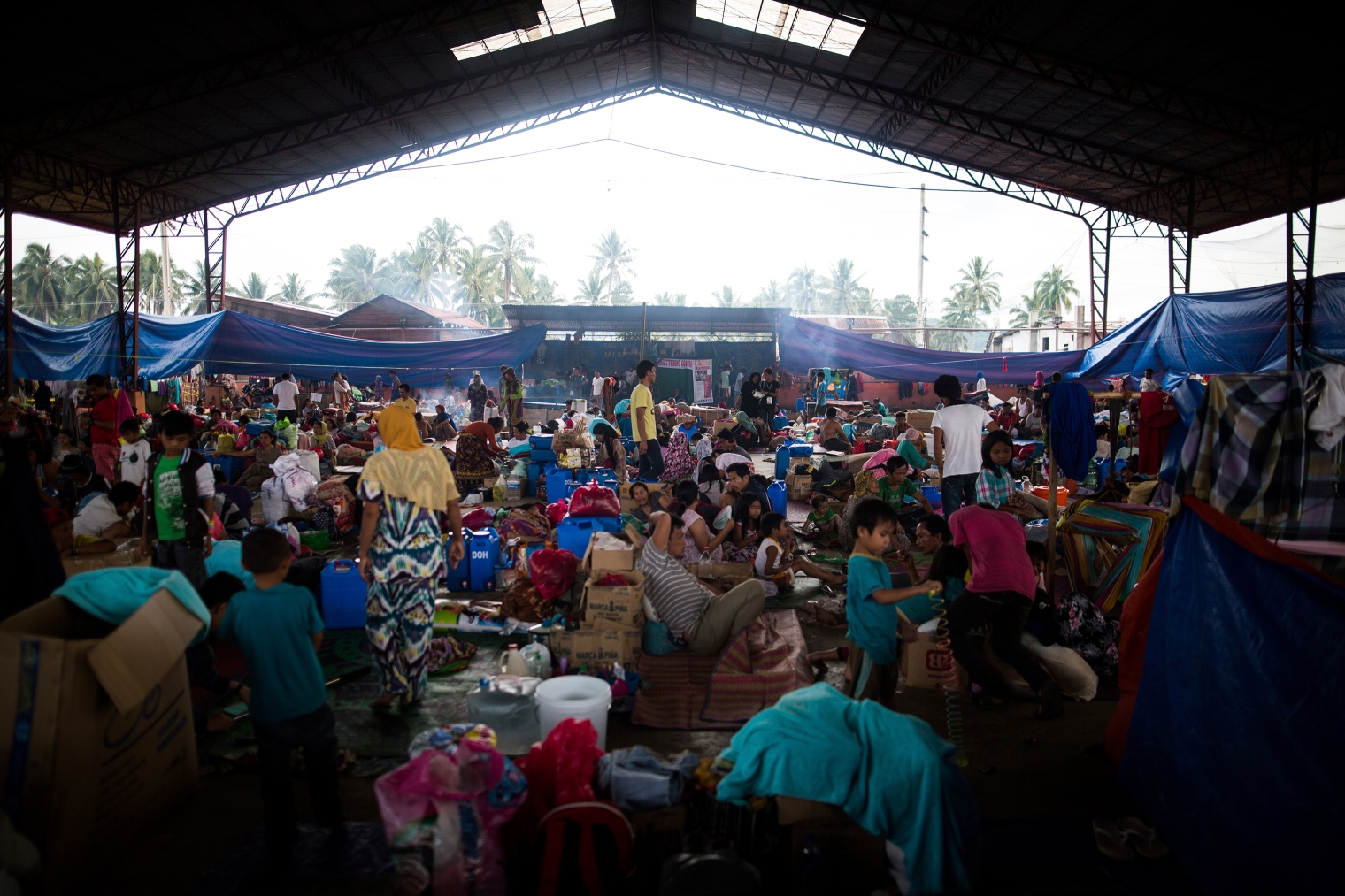 "Displaced residents at a temporary evacuation center in Saguiaran, Marawi, on June 10. Richard Atrero de Guzman—€""NurPhoto/Sipa USA/AP"