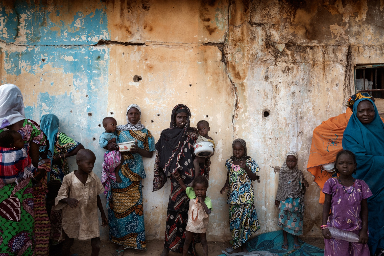 Women and children at a camp for internally displaced persons in Dikwa, Nigeria.