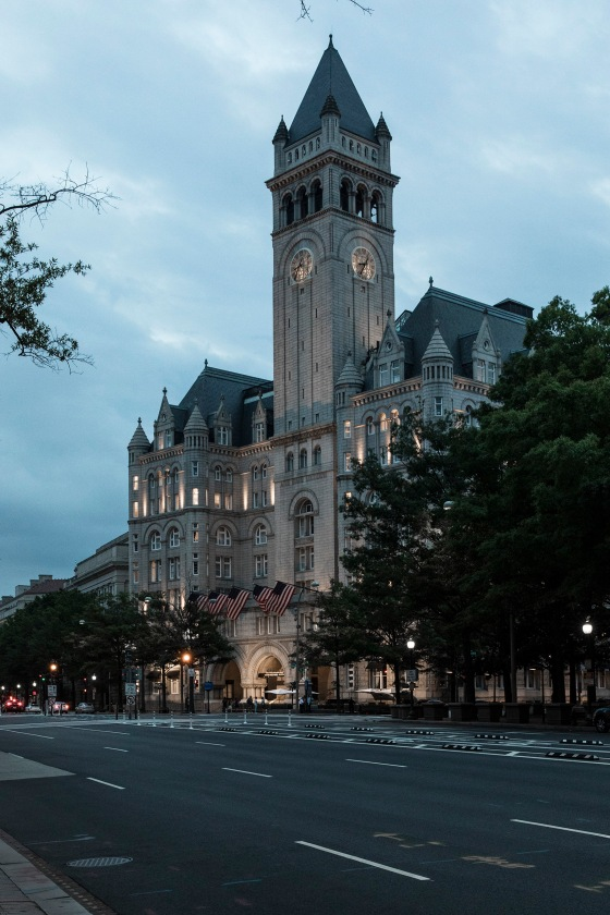 The view of Trump International Hotel Washington, D.C. The Old Post Office Pavilion is the second tallest building in D.C., after the Washington Monument. Christopher Morris—VII for TIME
