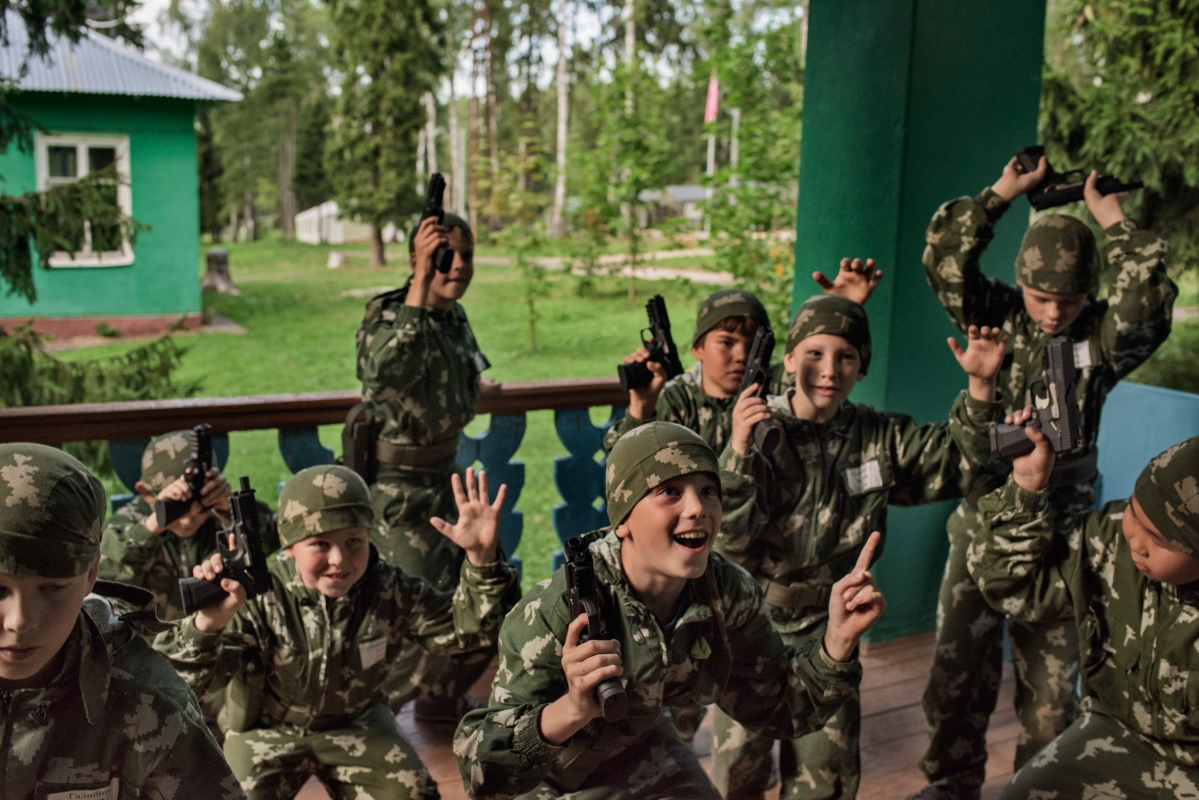 "At the children's military summer camp known as Razvedbat, meaning ""Reconnaissance Battalion,"" Russian boys and girls prepare for military service, learn to love their country and to fight for it, using a rich variety of weapons, in Klin, a suburb of Moscow, Aug. 2016."