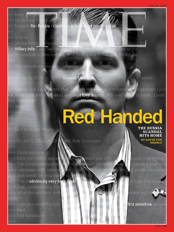 Donald Trump Jr. Red Handed Time Magazine Cover