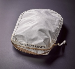 Apollo 11 Contingency Lunar Sample Return Bag. Used by Neil Armstrong on Apollo 11 to bring back the very first pieces of the moon ever collected – traces of which remain in the bag. The only such relic available for private ownership.