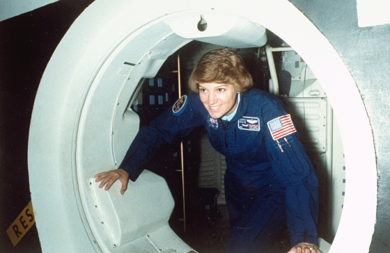 Eileen Collins, a then STS-114 mission commander, at the Space Vehicle Mockup Facility at the Johnson Space Center, in Nov, 2002.