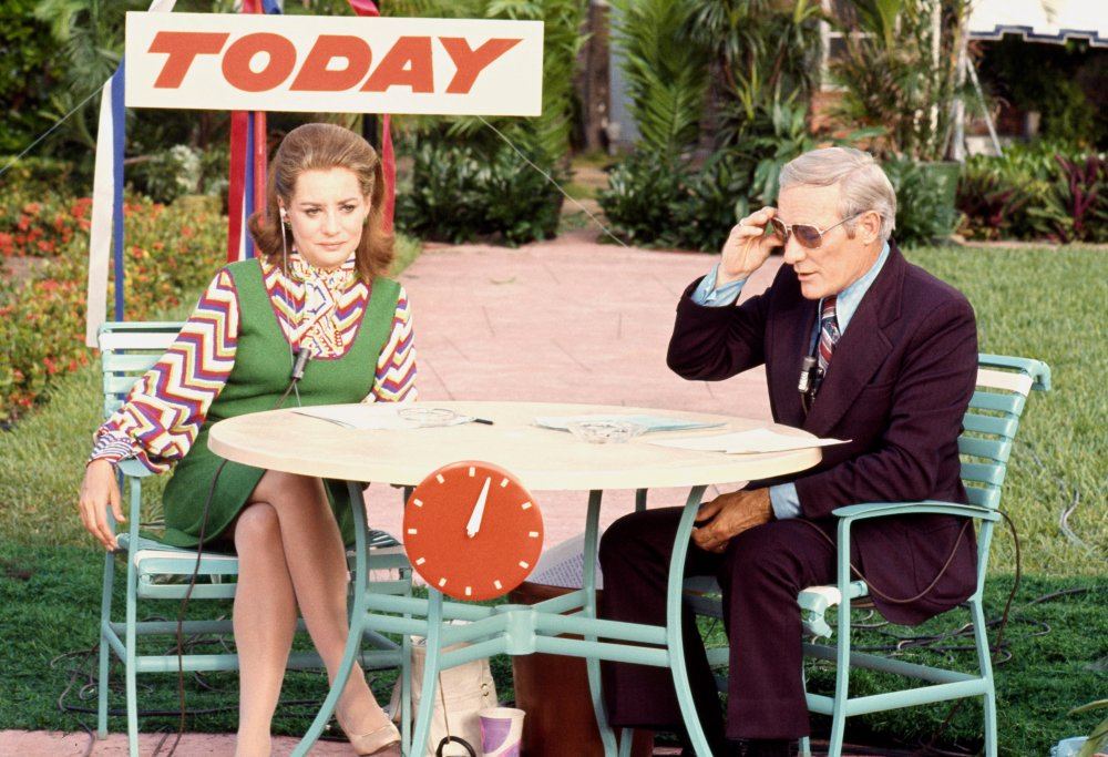 Barbara Walters and Frank Mcgee of the TODAY Show at the Republican Convention at the Miami Beach Convention Center in Florida, Aug, 1972.