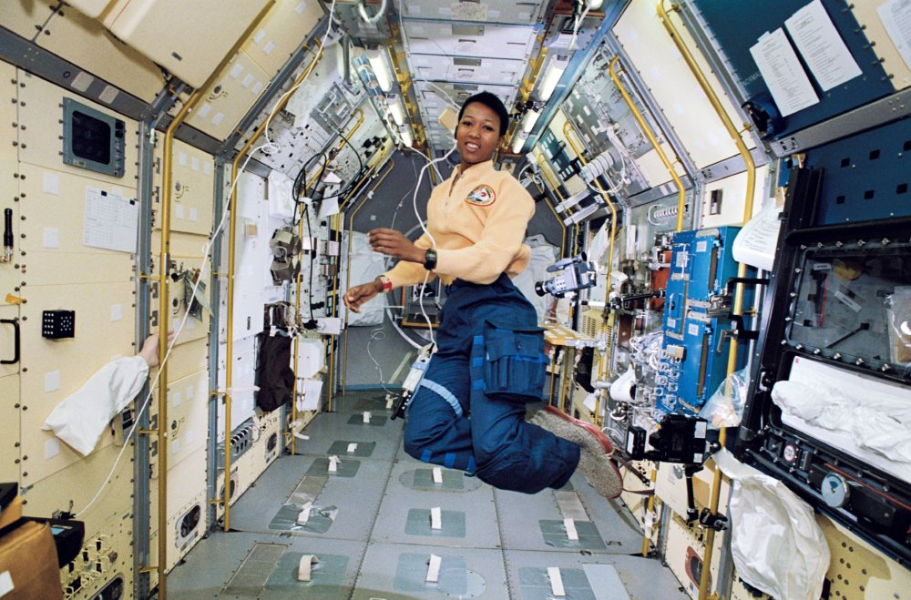 Mae Jemison, a STS-47 mission specialist, floats aboard the Earth-orbiting Space Shuttle Endeavour in September, 1992.
