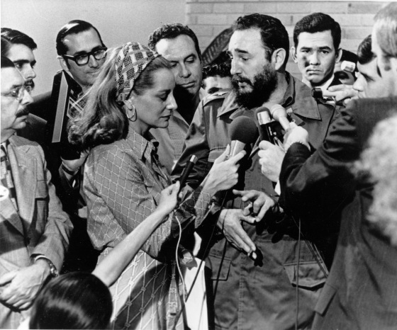 NBC reporter Barbara Walters (center) listens as Cuban Prime Minister Fidel Castro responds to her question during a news conference granted to members of the U.S. press in Havana, Cuba, on May 7, 1975.