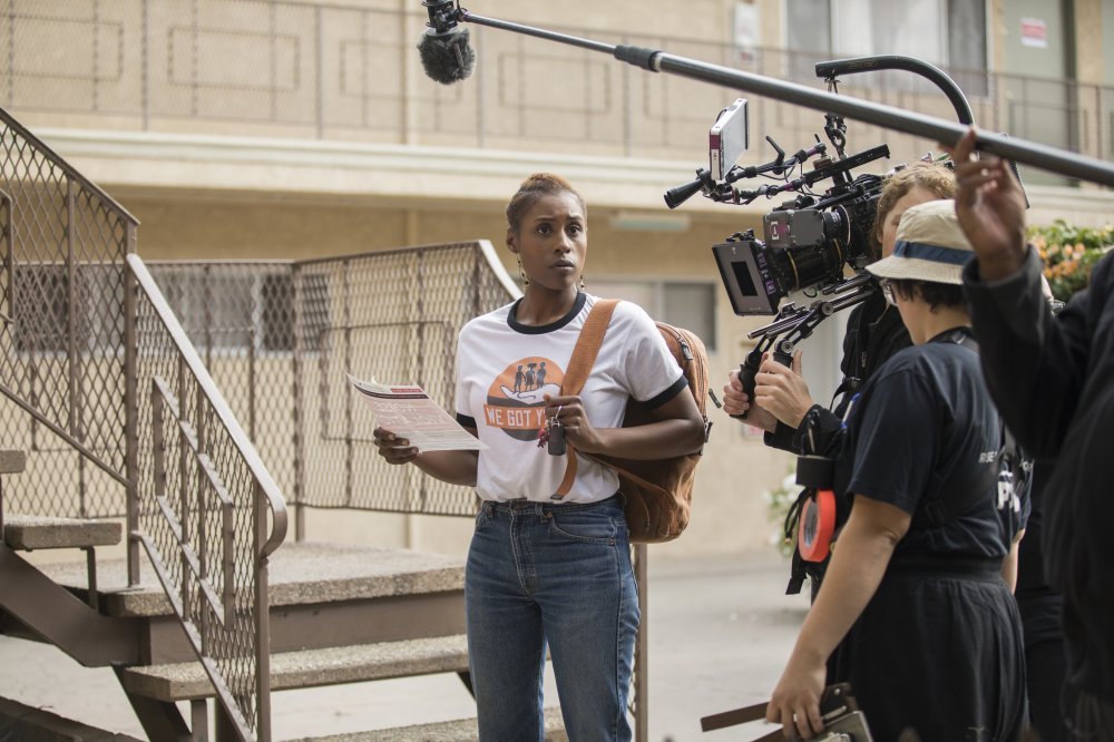 Issa Rae on the set of HBO's Insecure.