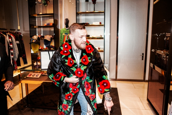 UFC lightweight champion Conor McGregor on a nighttime shopping outing at a mall in Las Vegas.