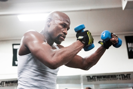 Mayweather trains at his Boxing club in Las Vegas.
