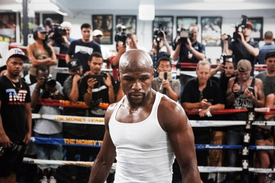 Mayweather at a workout for the media August 10.