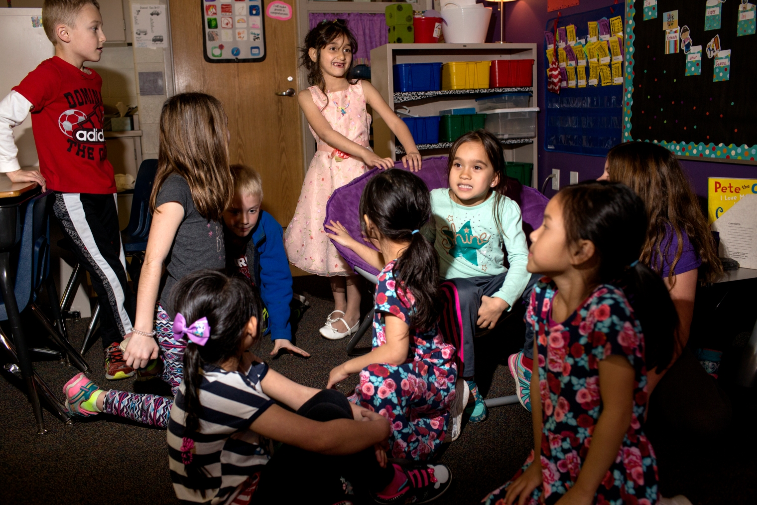 Hala Tameem during class at her new elementary school in the Waukee school district. Waukee is a suburb on Des Moines, Iowa.