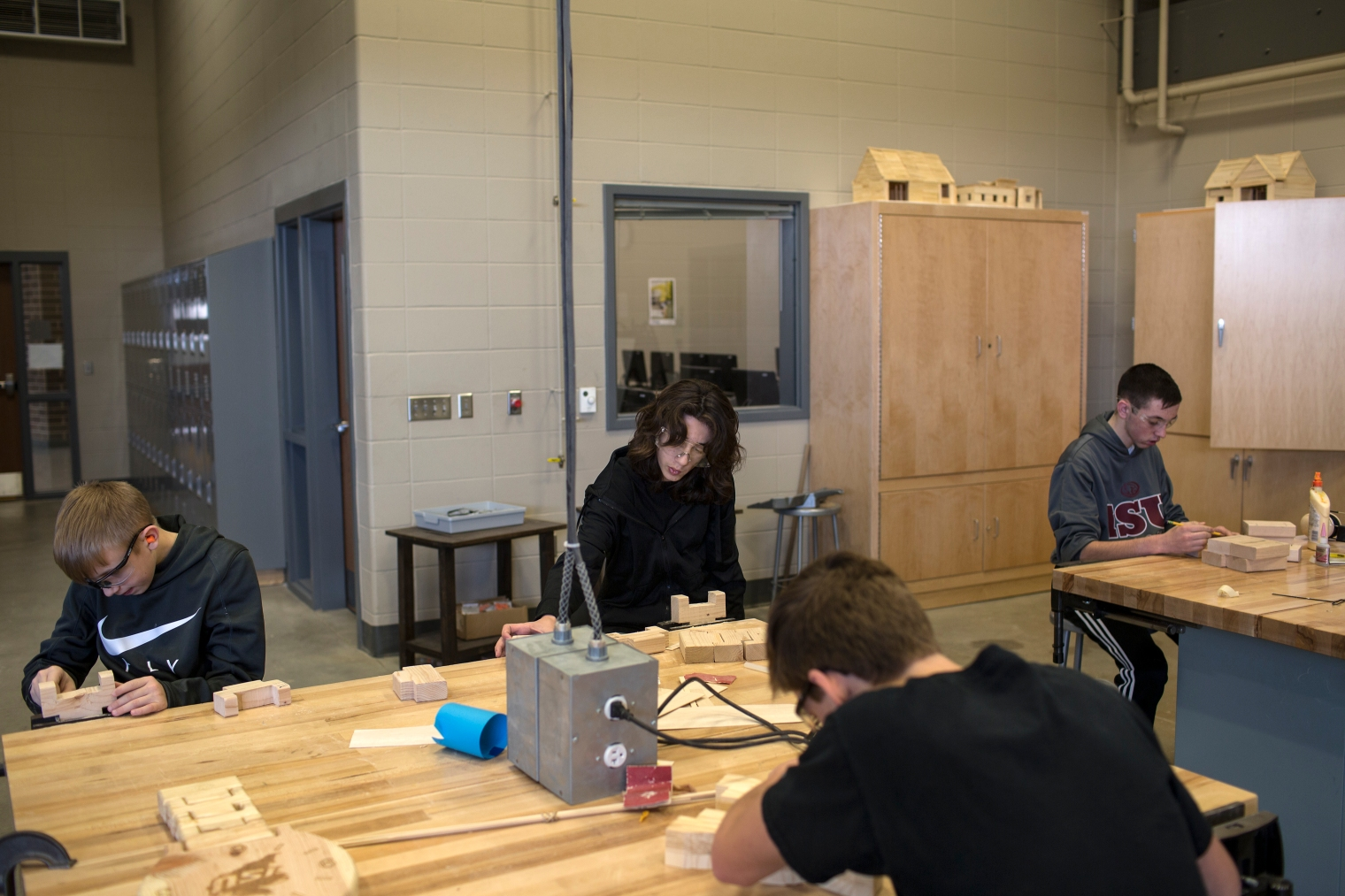 Nazeer Tameem during wood working class at Waukee Middle School. Waukee is a suburb of Des Moines, Iowa.