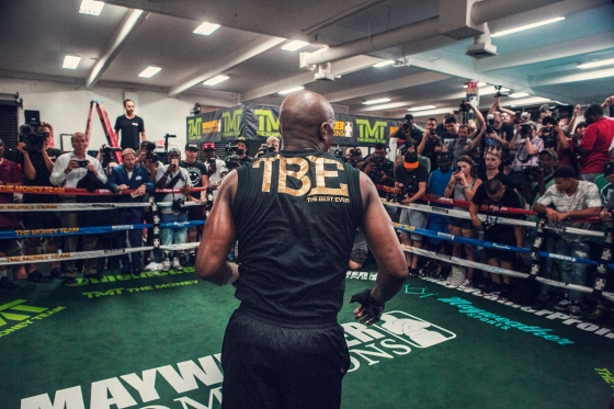 Mayweather trains for the media at his boxing club in Las Vegas.
