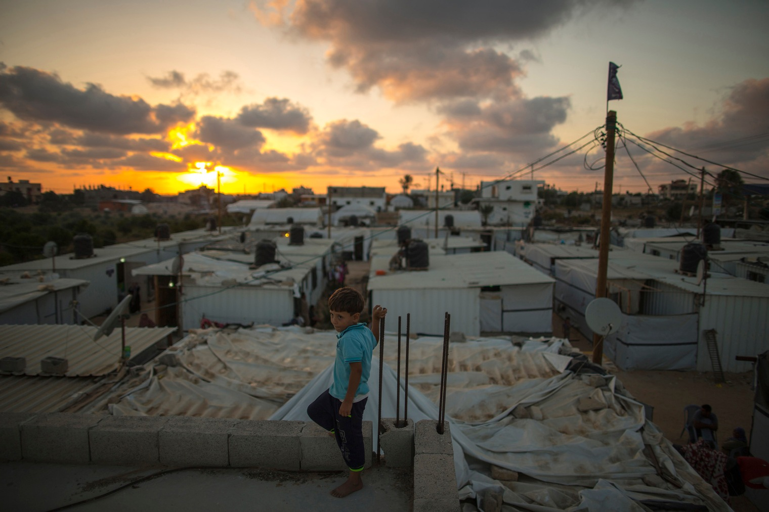 General view for the Cravans community in Khuzaa, east of Khan Yunis, in the southern Gaza Strip where people live in a critical situation since they were displaced after the Israeli military offensive over Gaza last summer on July 6, 2015.