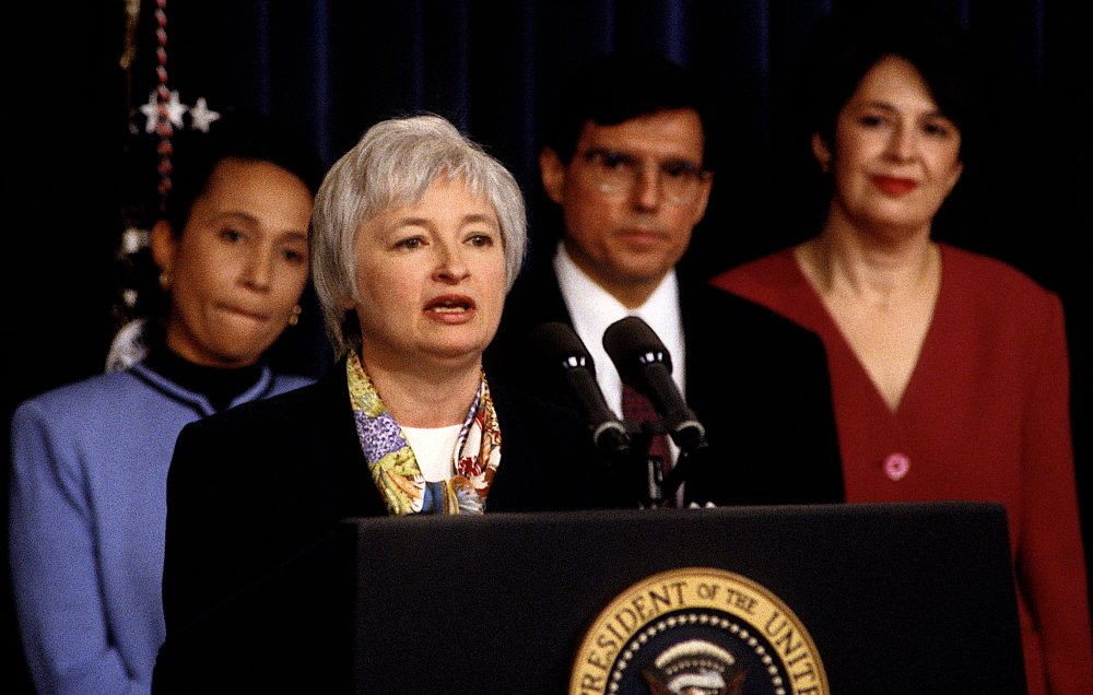Janet Yellen speaking at the White House in Washington, DC, 1996.