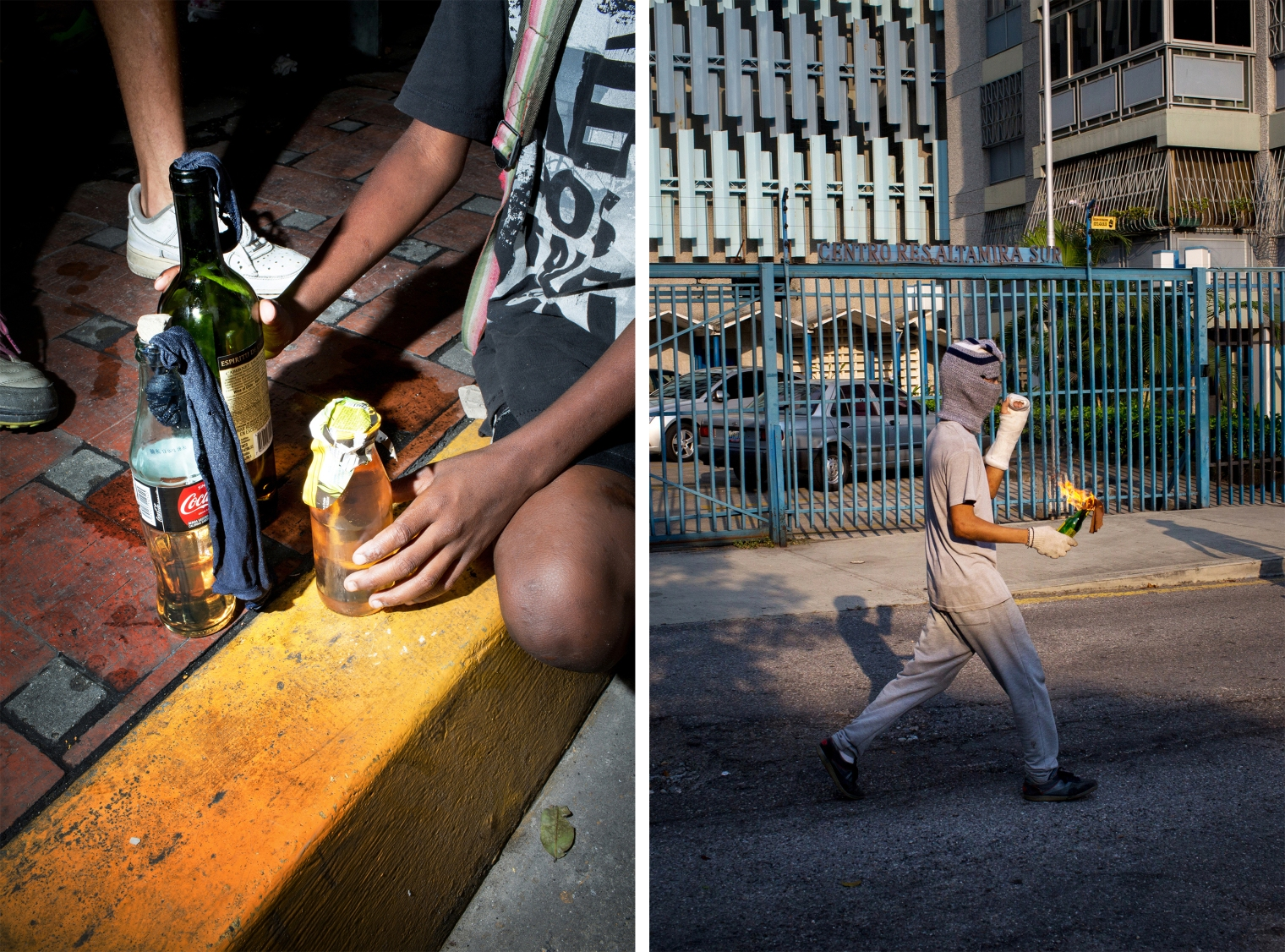 Left: A boy prepares Molotov cocktails during a quiet afternoon in the Chacao section of Caracas on July 31. Right: A youth holds a Molotov cocktail in eastern Caracas.