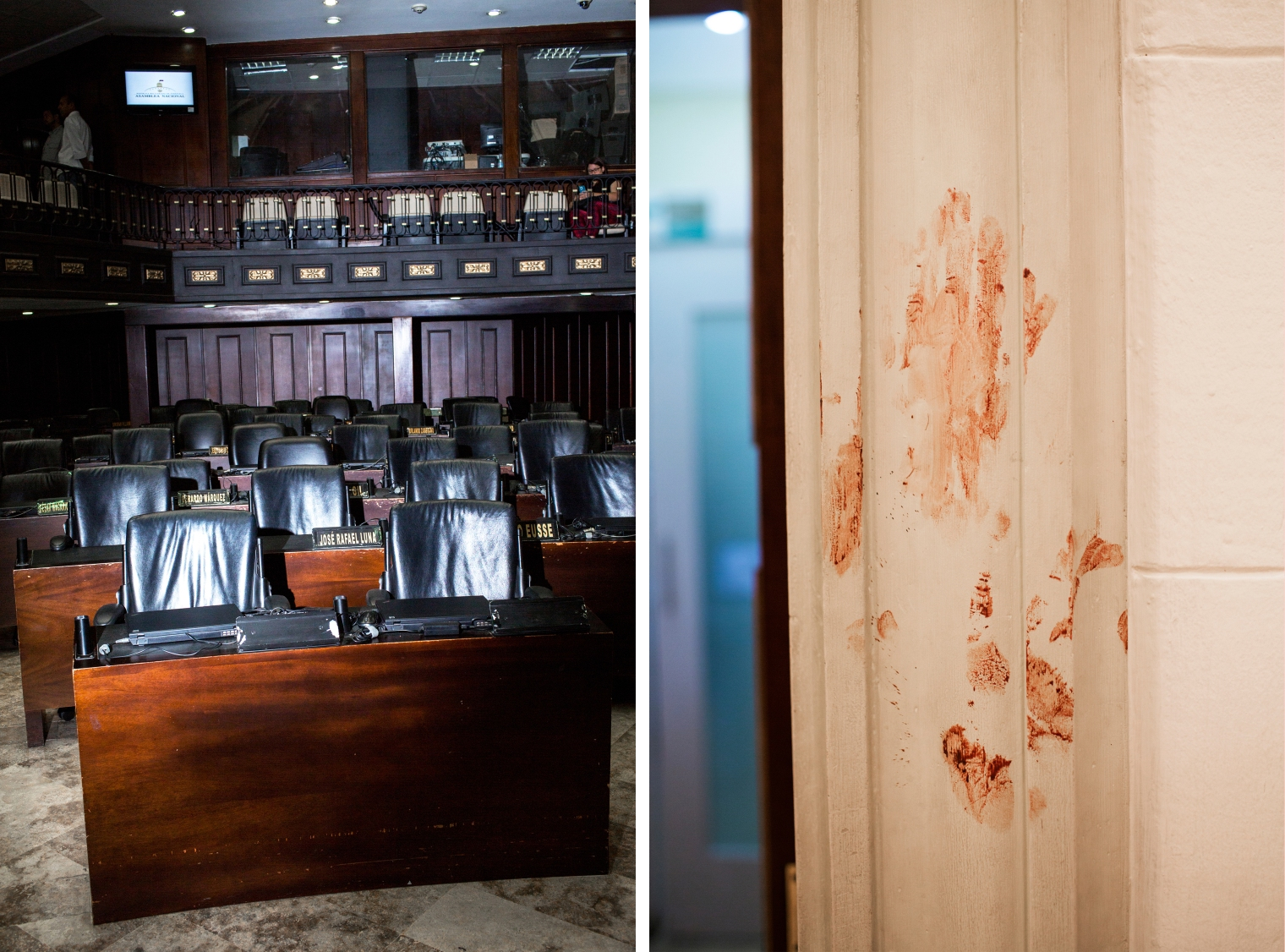 Left: Empty seats in the chamber of the National Assembly on Aug. 2, 2017. Right: A bloodstained wall in the building.