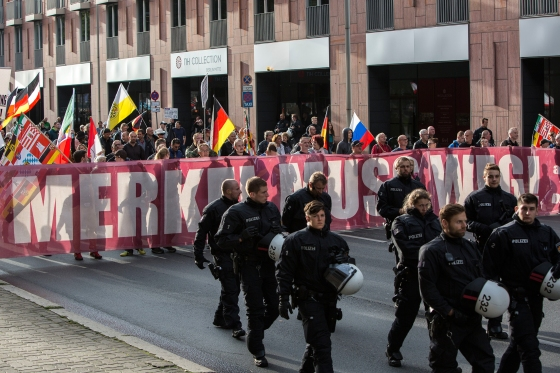 """About 400 participants marched through Berlin's Mitte district as part of the seventh (and last) demonstration under the title """"Merkel Muss Weg"""" (Merkel must go), on Sept. 9, 2017."""
