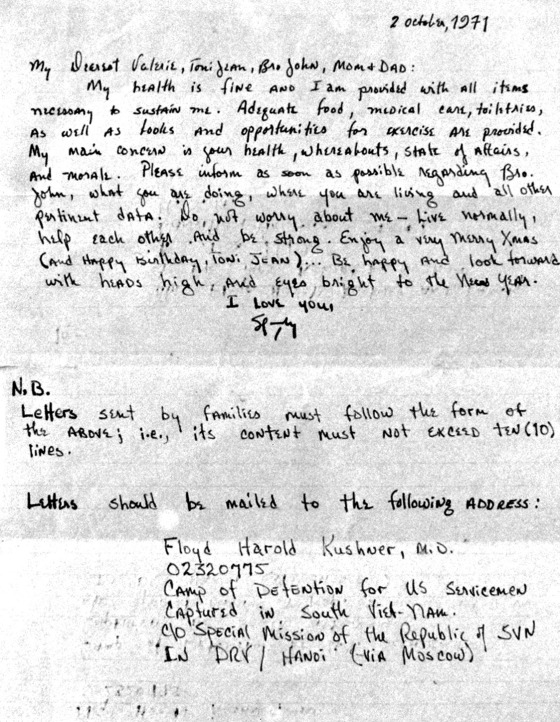 Vietnam POW Hal Kushner letter to his wife and family