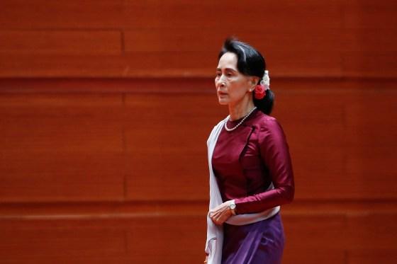 Aung San Suu Kyi, before her Sept.19 speech
