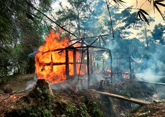 a Rohingya village burning in Rakhine state on Sept.7