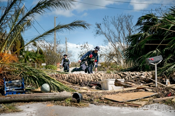 FEMA search-and-rescue teams at work in a neighborhood in Big Pine Key. The Keys were hit especially hard