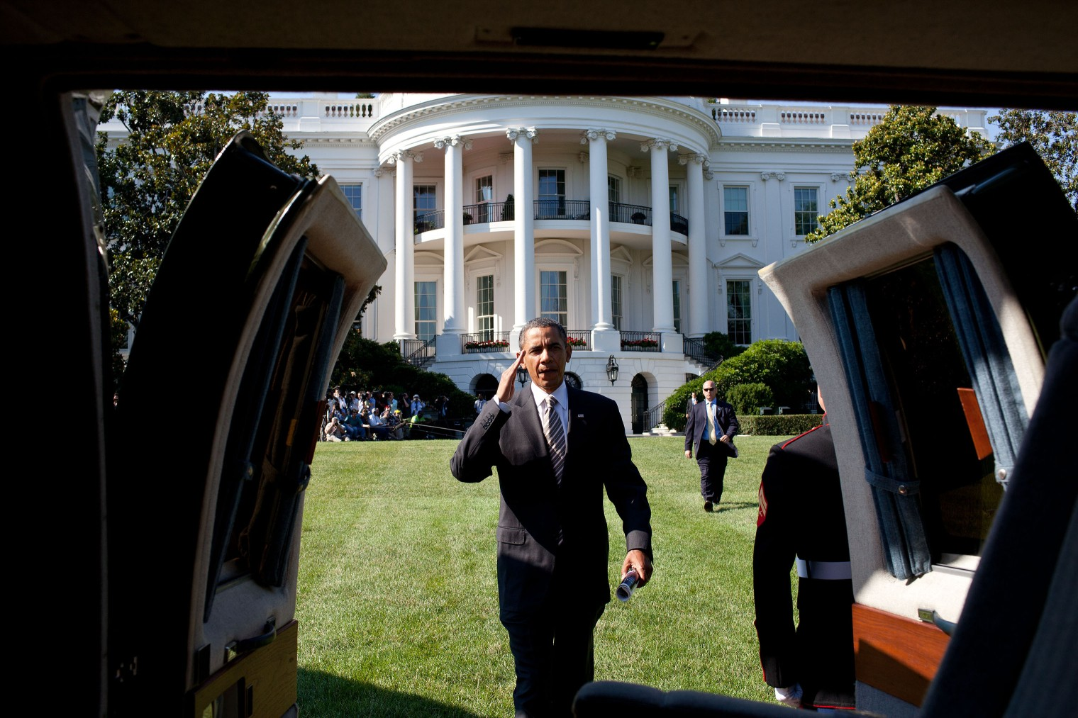 President Obama boards Marine One on the South Lawn of the White House, on July 1, 2011.