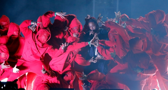 Kendrick Lamar performs during the 60th Annual Grammy Awards in New York on Jan. 28, 2018.