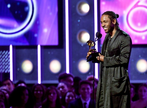 Recording artist Kendrick Lamar accepts award for Best Rap Album onstage during the 60th Annual Grammy Awards at Madison Square Garden on Jan. 28, 2018 in New York City.