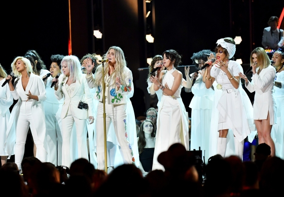 Recording artists Bebe Rexha, Cyndi Lauper, Kesha, Camila Cabello, Andra Day and Julia Michaels perform onstage during the 60th Annual GRAMMY Awards at Madison Square Garden on January 28, 2018 in New York City.