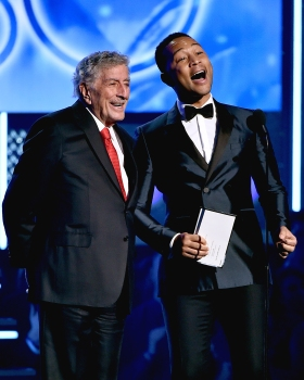 Recording artists Tony Bennett and John Legend speak onstage during the 60th Annual Grammy Awards at Madison Square Garden on Jan.28, 2018 in New York City.