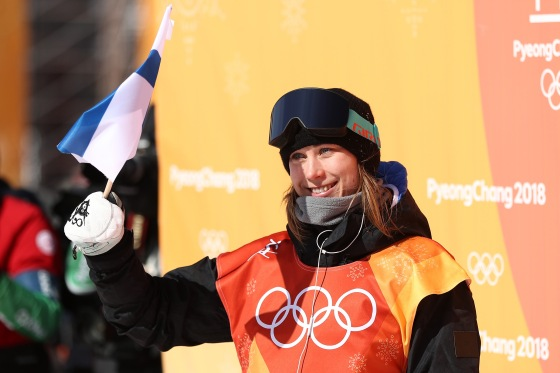 Bronze medalist Enni Rukajarvi of Finland celebrates in the Snowboard Ladies' Slopestyle Final on Feb. 12, 2018.