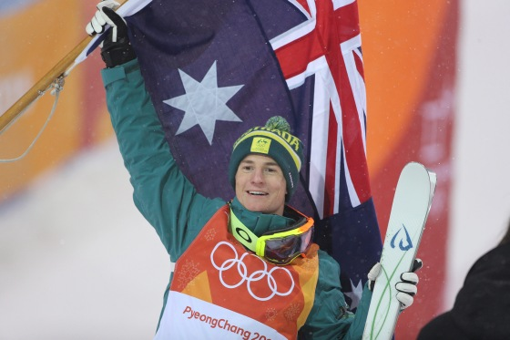 Matt Graham of Australia celebrates his silver medal in the Freestyle Skiing Men's Moguls competition on Feb. 12, 2018.