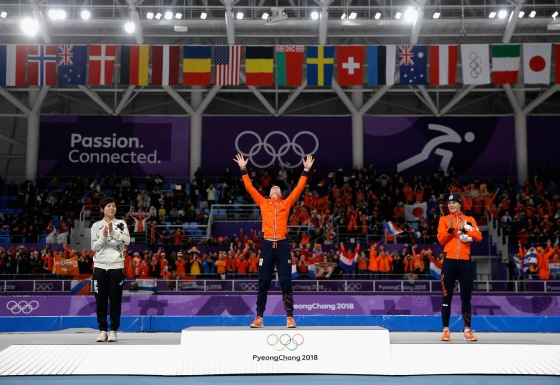 Gold medal winner Ireen Wust of The Netherlands reacts during the victory ceremony after winning the Ladies 1,500m Long Track Speed Skating final on Feb. 12, 2018.