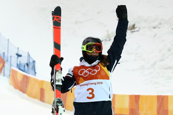 Perrine Laffont of France celebrates winning gold during the Freestyle Skiing Ladies' Moguls Final on Feb. 11, 2018.