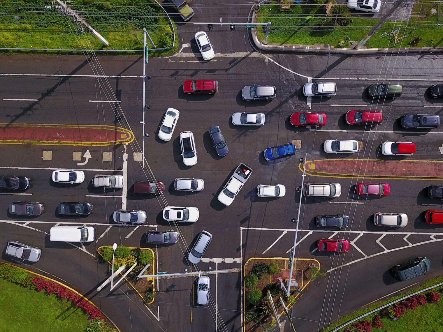 A traffic jam snarls cars in Humaco. Even in places where infrastructure remains intact residents face daily disruptions(Ricardo Arduengo)
