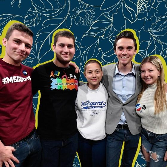 Parkland, Florida, Marjory Stoneman Douglas High School Students and activists (L-R) Cameron Kasky, Alex Wind, Emma Gonzalez, David Hogg, and Jaclyn Corin