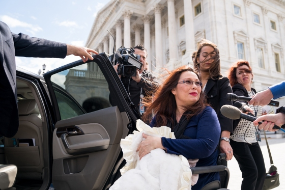 Sen. Tammy Duckworth (D-Ill.) departs Capitol Hill with her 10-day-old daughter, Maile, in Washington.