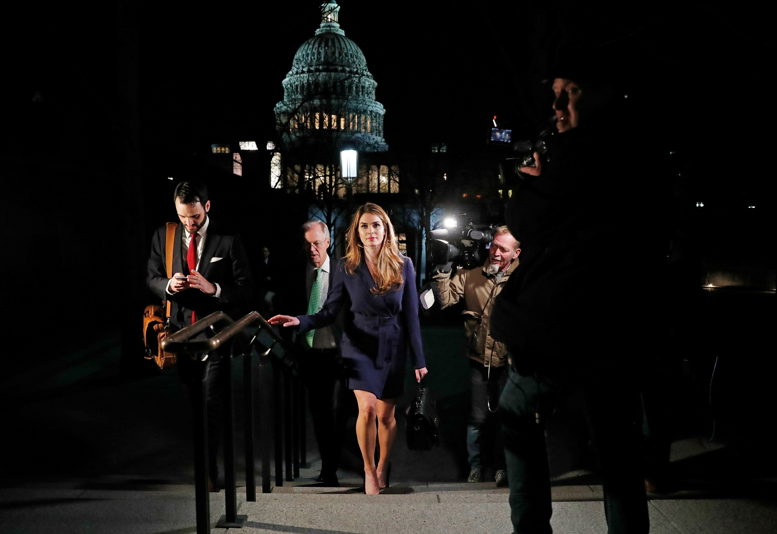Hope Hicks, the White House communications director, leaves the Capitol on Feb. 27