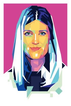 An illustration of Beatrice Fihn a Disarmament activist, Sweden