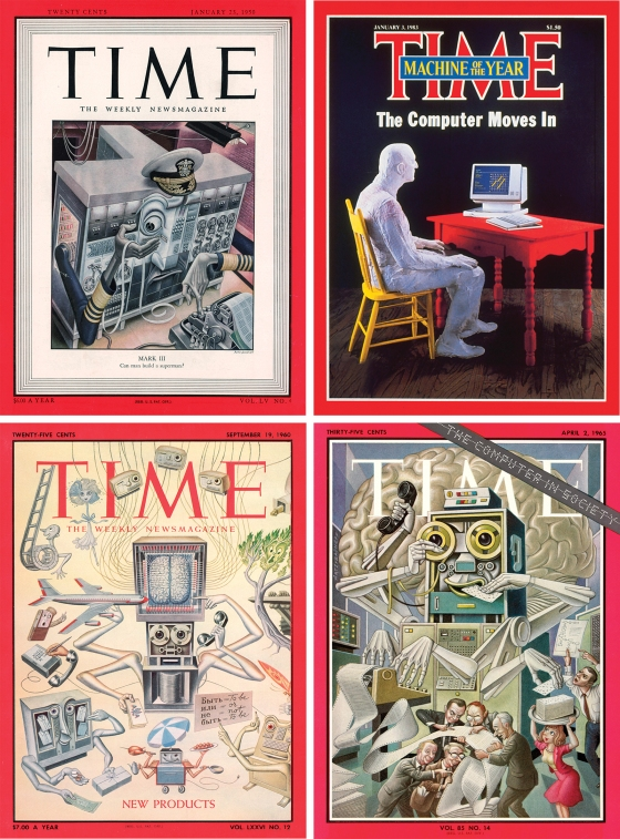the evolution of the computer, as seen on the covers of TIME in 1950, 1983, 1965 and 1960