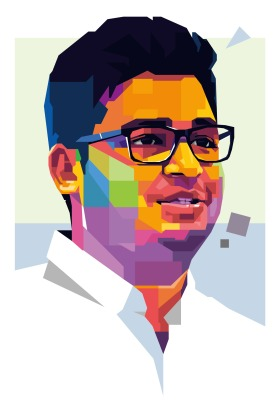 An illustration of Harry Myo Lin a Human-rights activist, Myanmar
