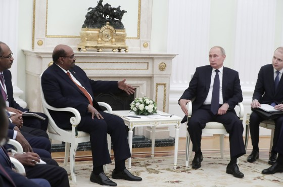 Putin, right, with Sudan's Omar al-Bashir in Moscow in July 2018. Sudan has welcomed a number of Russian ventures from military aid to political consulting